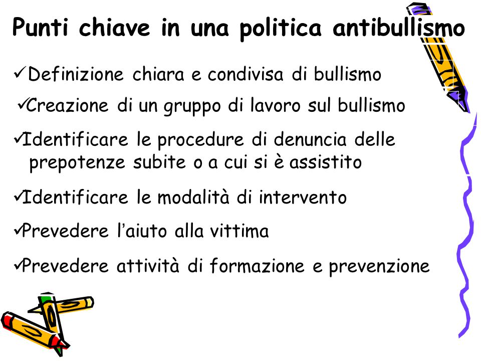 Punti chiave in una politica antibullismo