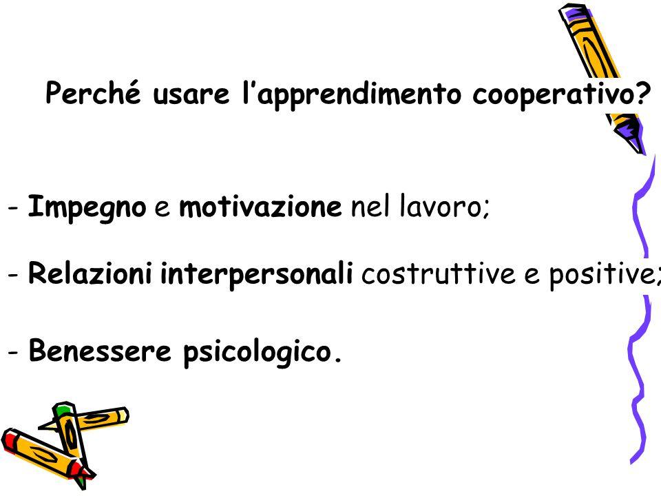 Perché usare l'apprendimento cooperativo