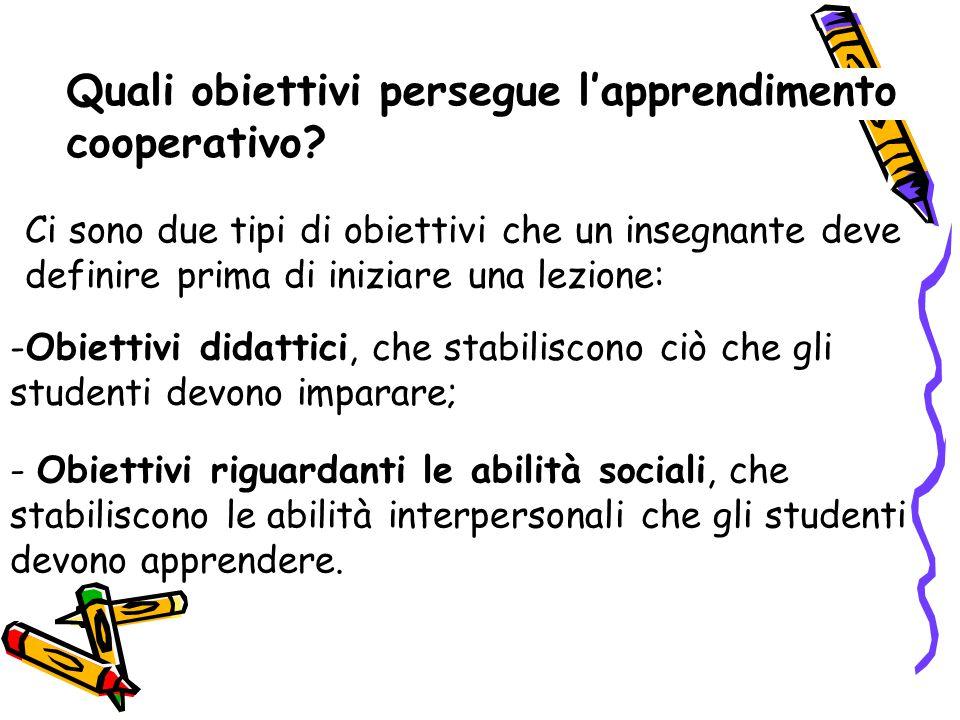 Quali obiettivi persegue l'apprendimento cooperativo