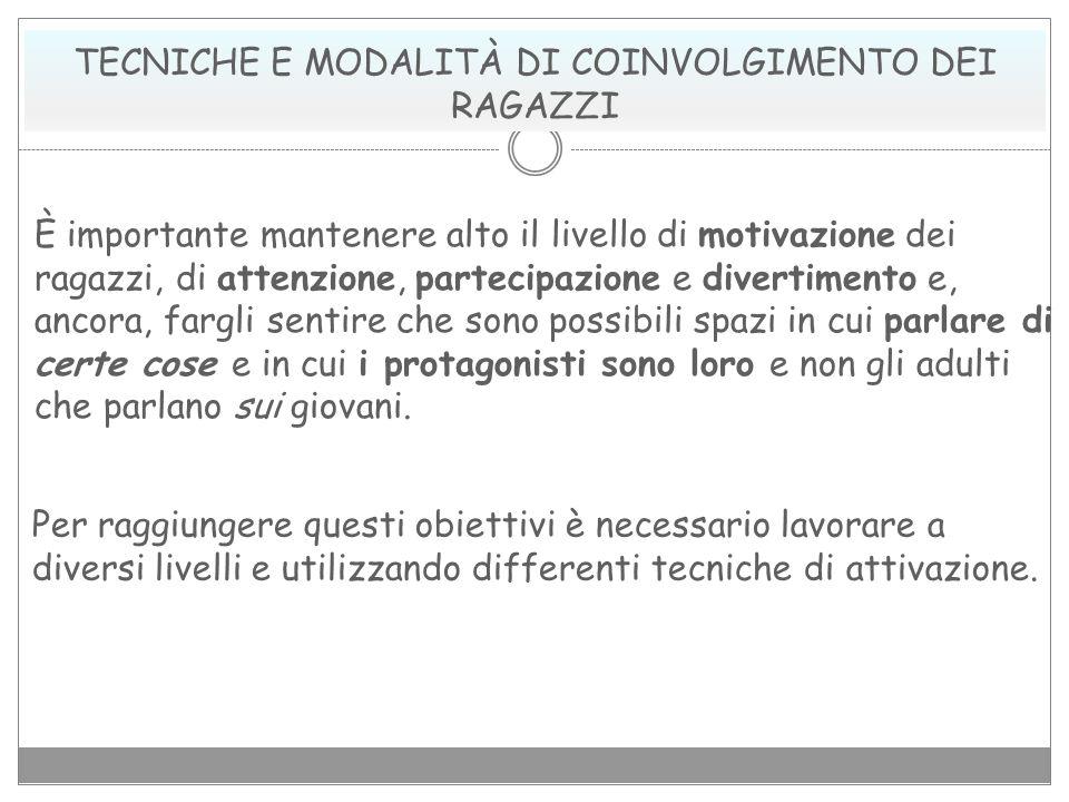 TECNICHE E MODALITÀ DI COINVOLGIMENTO DEI RAGAZZI