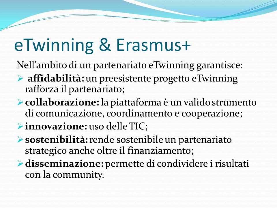 eTwinning & Erasmus+ Nell'ambito di un partenariato eTwinning garantisce: affidabilità: un preesistente progetto eTwinning rafforza il partenariato;