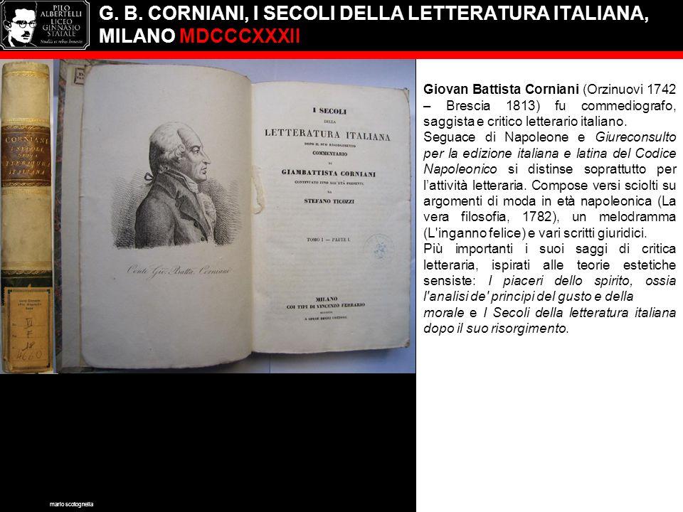 G. B. CORNIANI, I SECOLI DELLA LETTERATURA ITALIANA, MILANO MDCCCXXXII