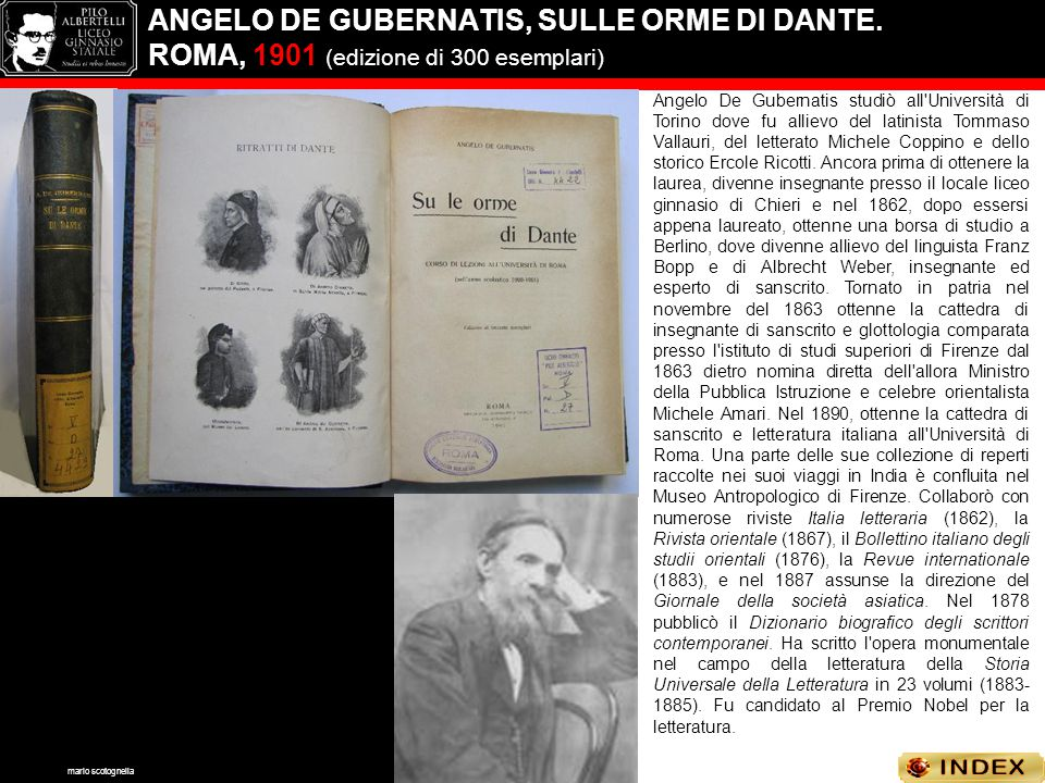 ANGELO DE GUBERNATIS, SULLE ORME DI DANTE