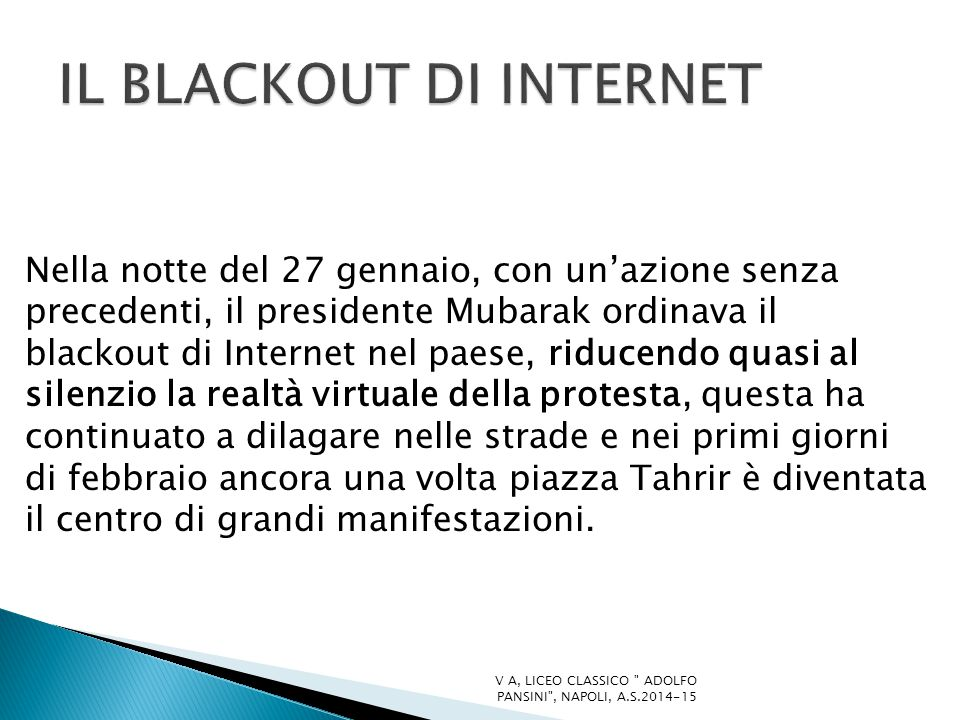 IL BLACKOUT DI INTERNET