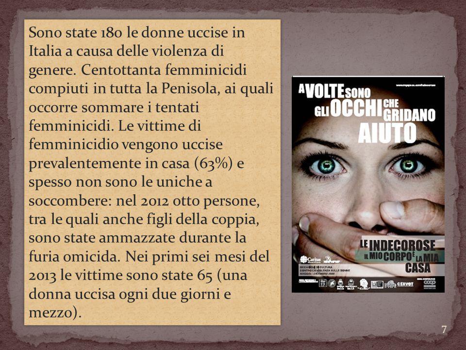 Sono state 180 le donne uccise in Italia a causa delle violenza di genere.