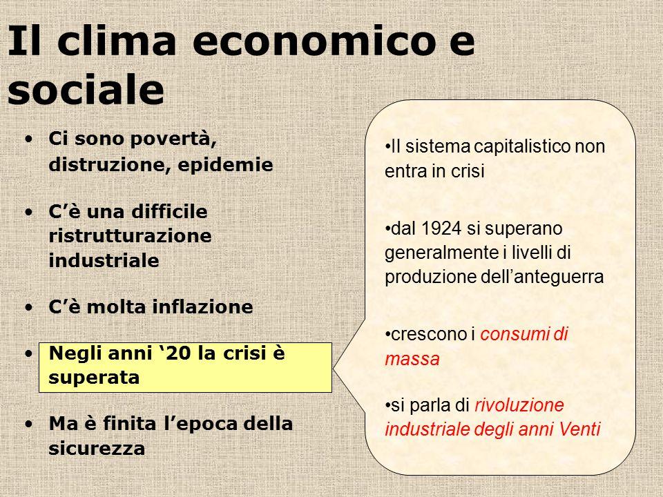 Il clima economico e sociale