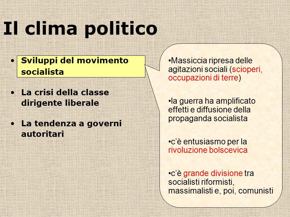 Il clima politico Massiccia ripresa delle agitazioni sociali (scioperi, occupazioni di terre)