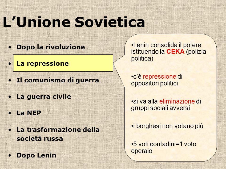 L'Unione Sovietica Lenin consolida il potere istituendo la CEKA (polizia politica) c'è repressione di oppositori politici.