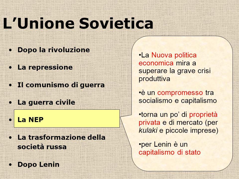 L'Unione Sovietica La Nuova politica economica mira a superare la grave crisi produttiva. è un compromesso tra socialismo e capitalismo.