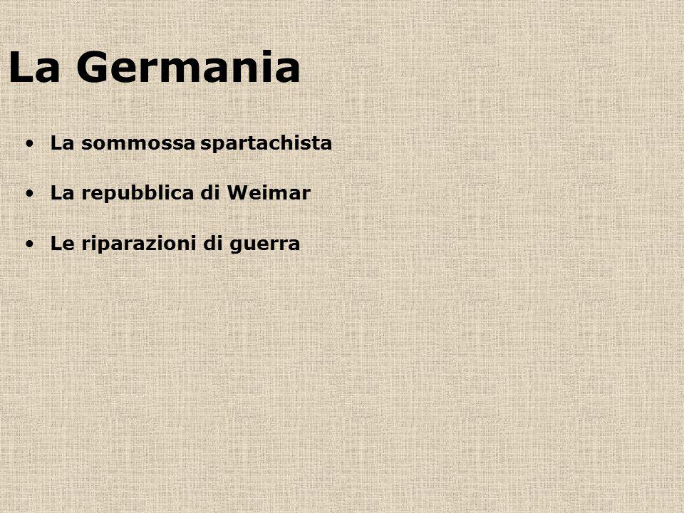 La Germania La sommossa spartachista La repubblica di Weimar