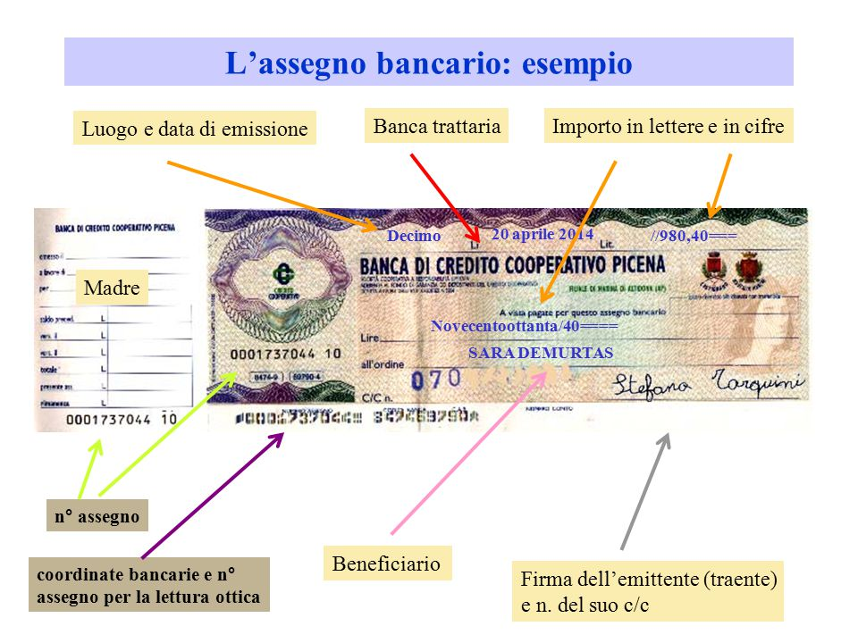 L'assegno bancario: esempio