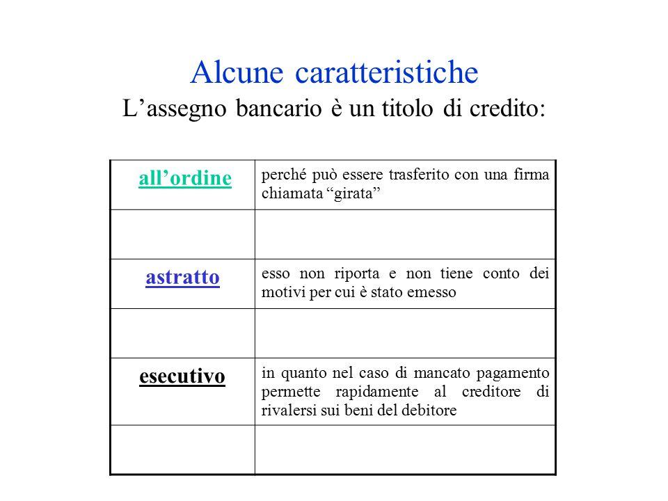 Alcune caratteristiche L'assegno bancario è un titolo di credito: