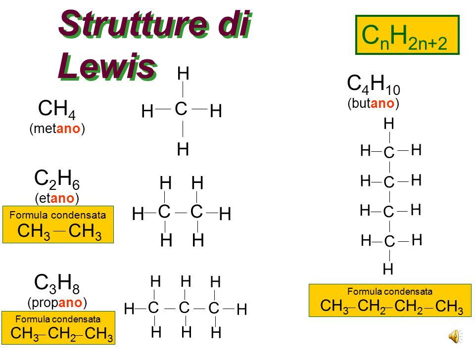 Strutture di Lewis CnH2n+2 C4H10 CH4 C2H6 C3H8 H C H H H C CH3 H H C H
