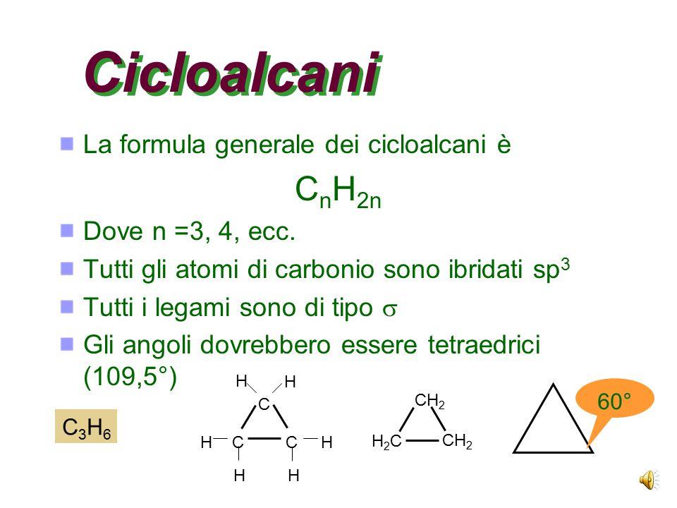 Cicloalcani CnH2n La formula generale dei cicloalcani è