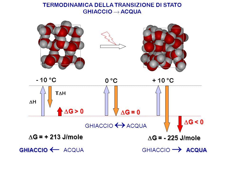 TERMODINAMICA DELLA TRANSIZIONE DI STATO GHIACCIO  ACQUA