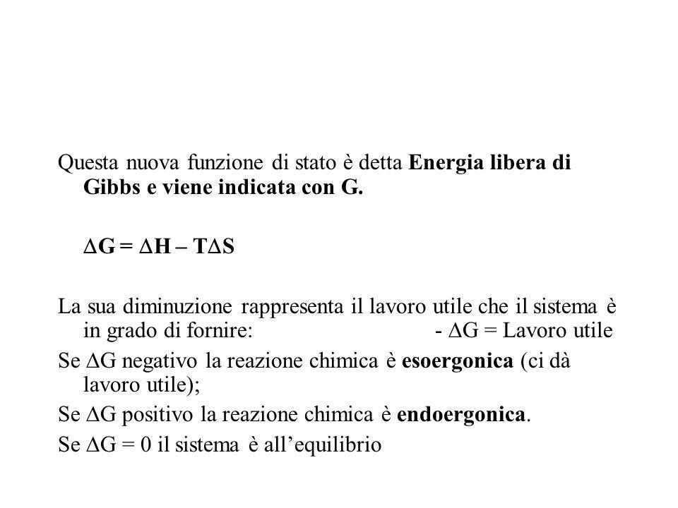 Questa nuova funzione di stato è detta Energia libera di Gibbs e viene indicata con G.