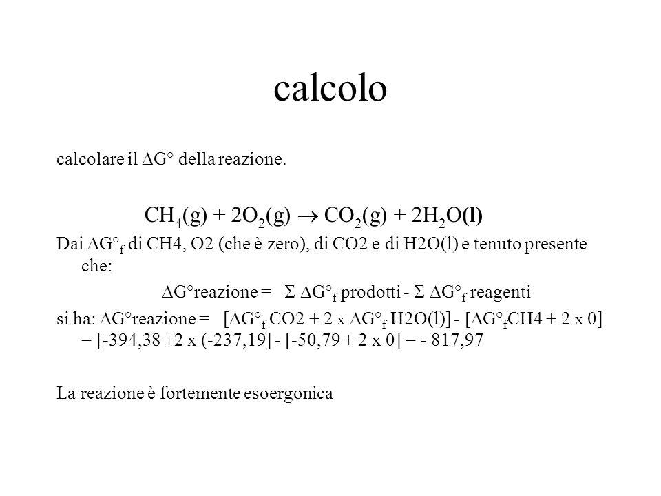 calcolo CH4(g) + 2O2(g)  CO2(g) + 2H2O(l)