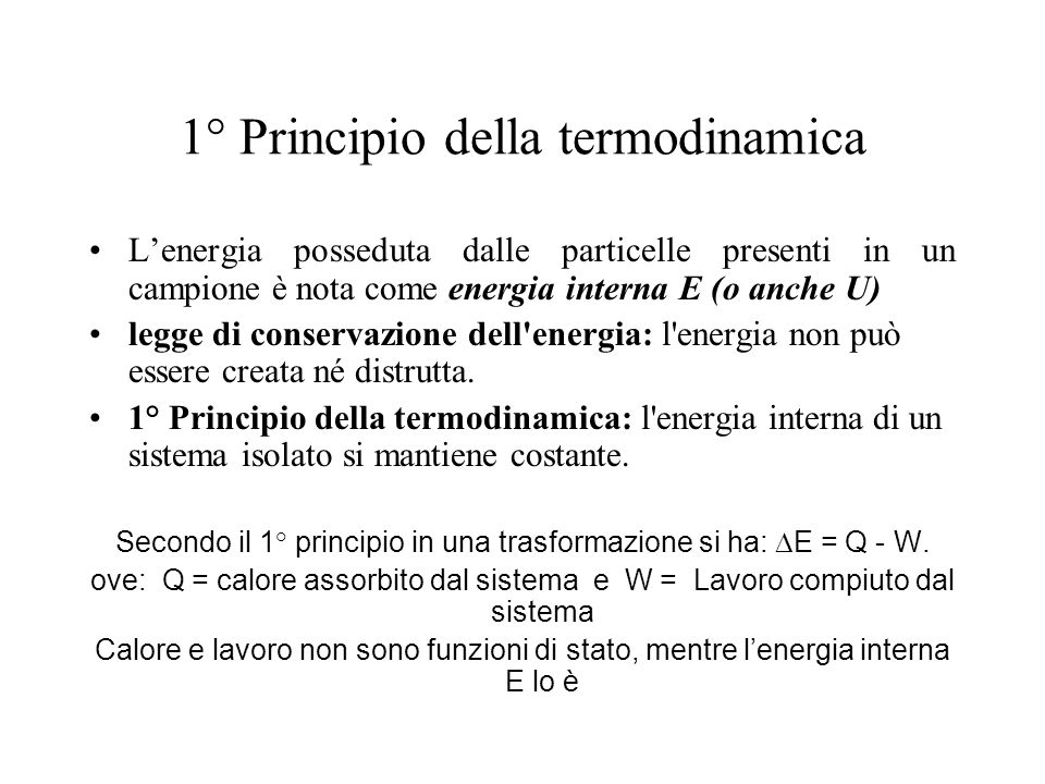 1° Principio della termodinamica