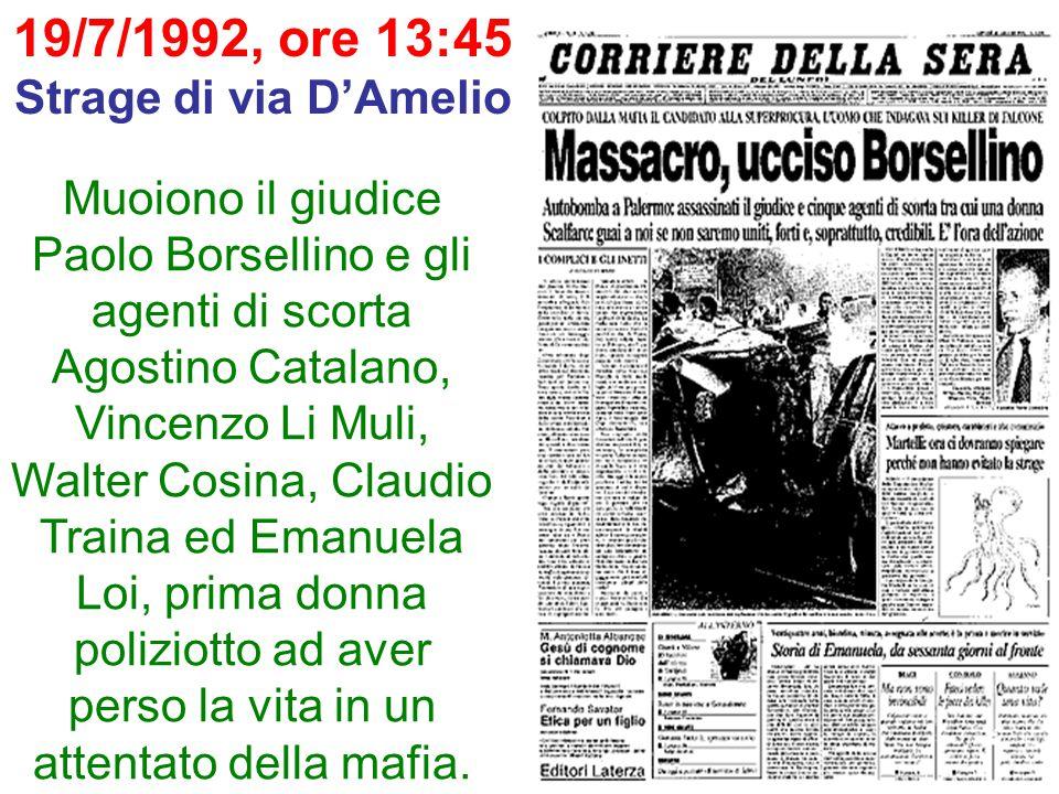 19/7/1992, ore 13:45 Strage di via D'Amelio