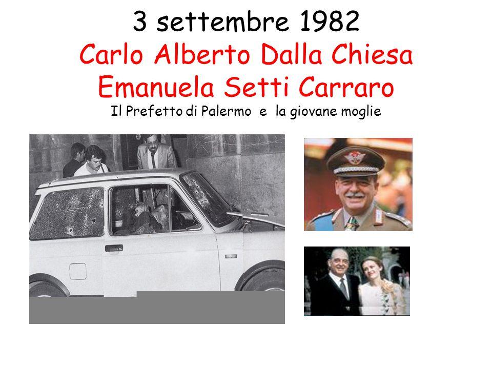 3 settembre 1982 Carlo Alberto Dalla Chiesa Emanuela Setti Carraro Il Prefetto di Palermo e la giovane moglie
