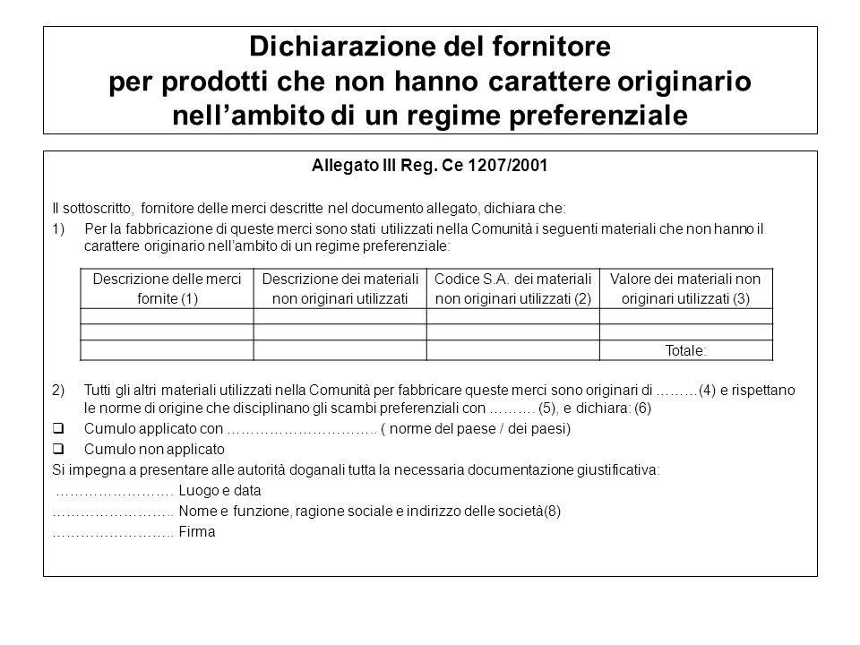 Dichiarazione del fornitore per prodotti che non hanno carattere originario nell'ambito di un regime preferenziale