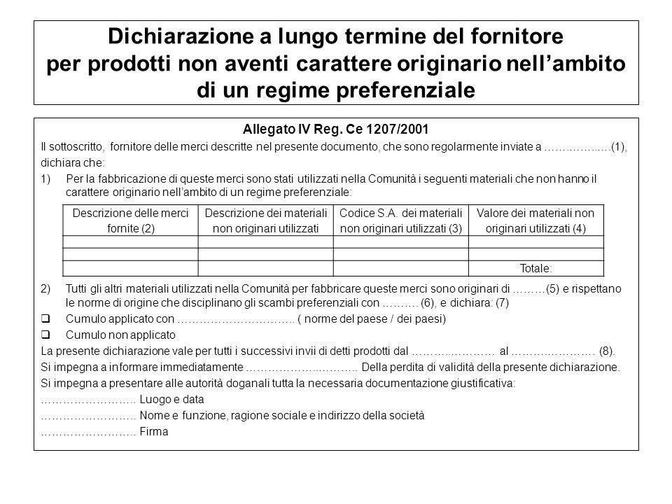 Dichiarazione a lungo termine del fornitore per prodotti non aventi carattere originario nell'ambito di un regime preferenziale