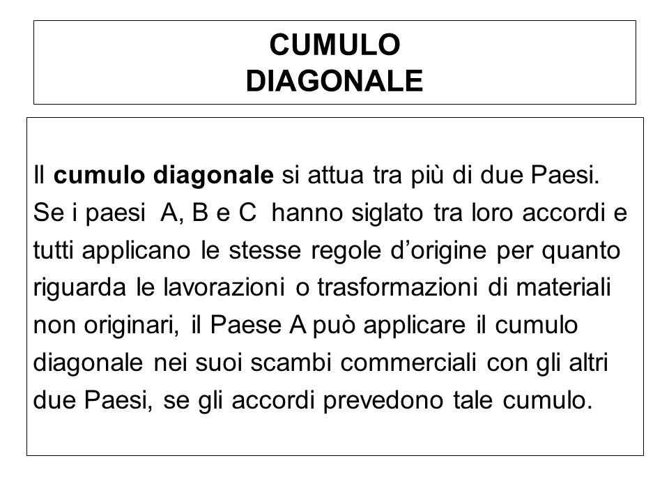 CUMULO DIAGONALE