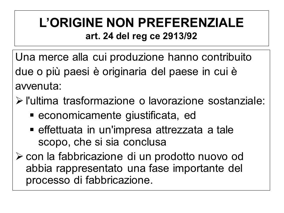 L'ORIGINE NON PREFERENZIALE art. 24 del reg ce 2913/92