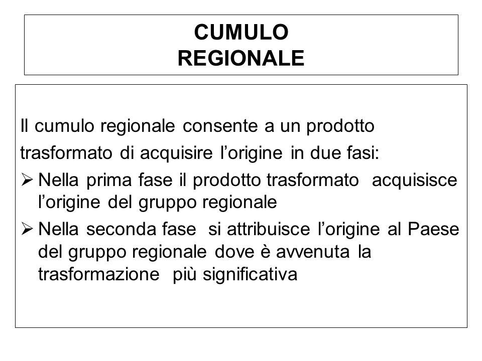 CUMULO REGIONALE Il cumulo regionale consente a un prodotto