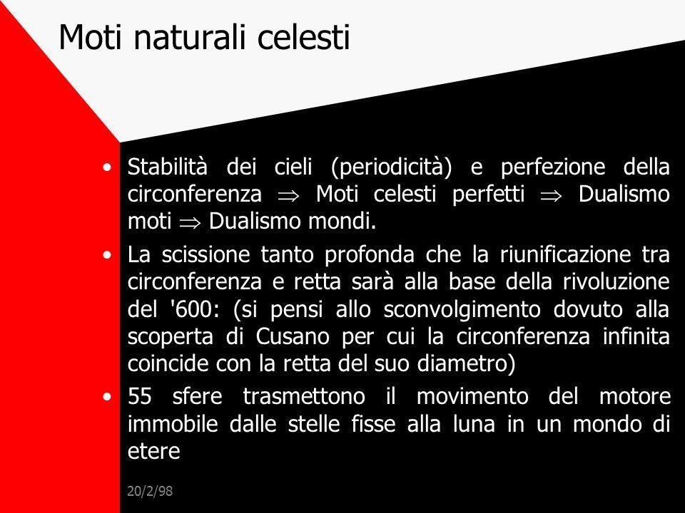 Moti naturali celesti Stabilità dei cieli (periodicità) e perfezione della circonferenza  Moti celesti perfetti  Dualismo moti  Dualismo mondi.