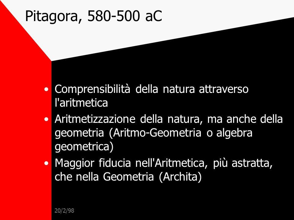 Pitagora, 580-500 aC Comprensibilità della natura attraverso l aritmetica.