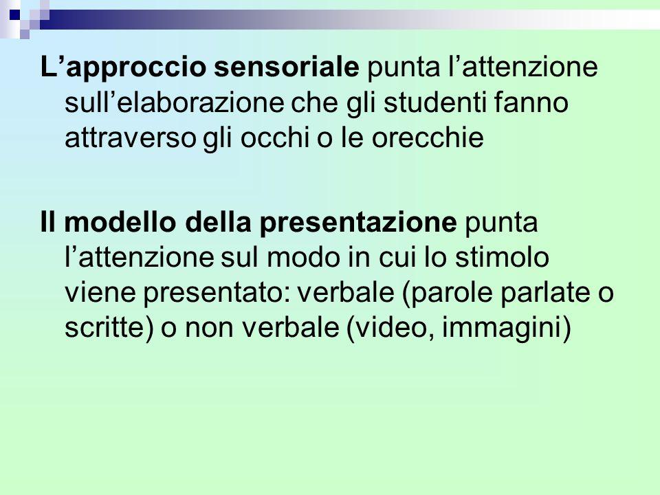 L'approccio sensoriale punta l'attenzione sull'elaborazione che gli studenti fanno attraverso gli occhi o le orecchie