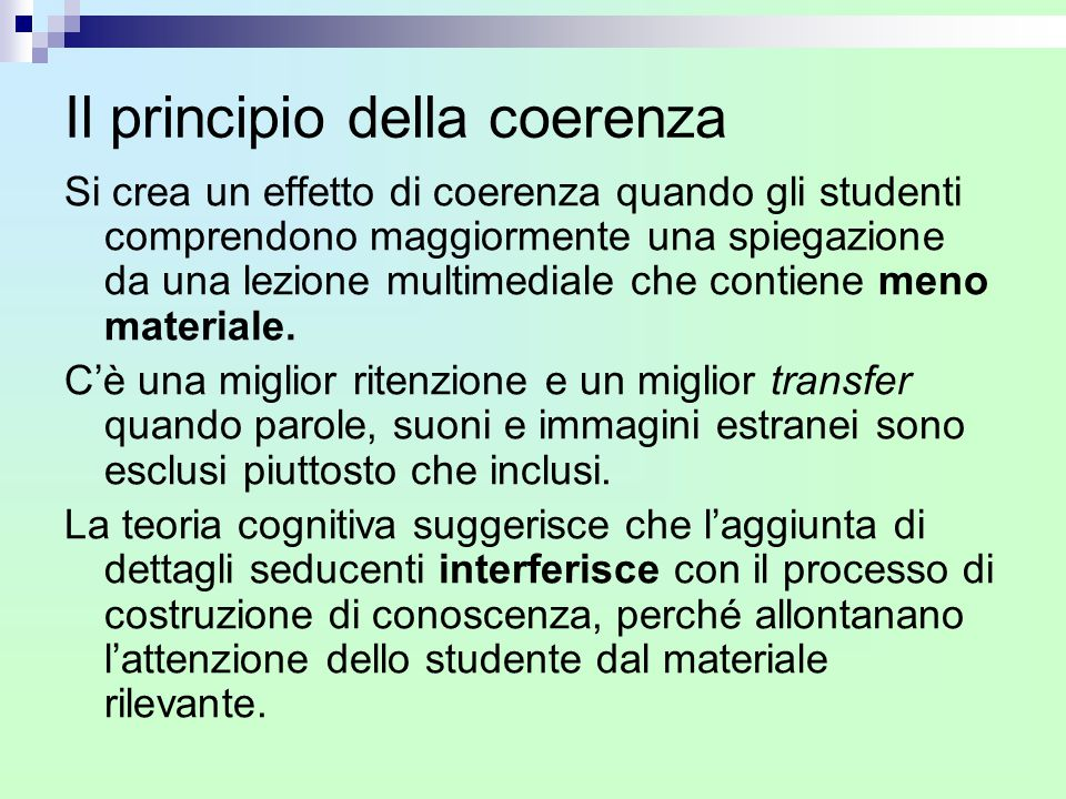 Il principio della coerenza