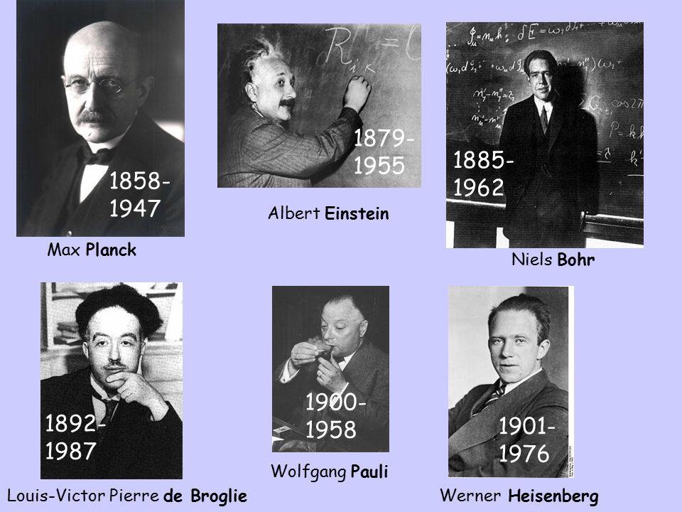 Max Planck 1858-1947. Albert Einstein. 1879-1955. Niels Bohr. 1885-1962. Werner Heisenberg. 1900-1958.