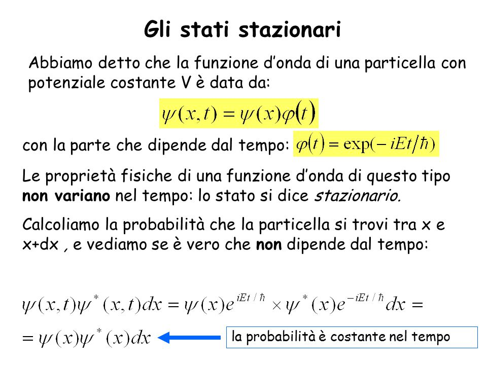 Gli stati stazionari Abbiamo detto che la funzione d'onda di una particella con potenziale costante V è data da:
