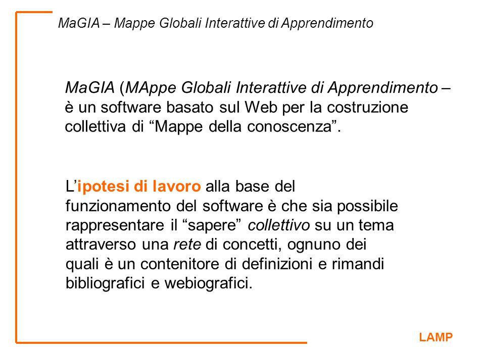 MaGIA (MAppe Globali Interattive di Apprendimento –è un software basato sul Web per la costruzione collettiva di Mappe della conoscenza .