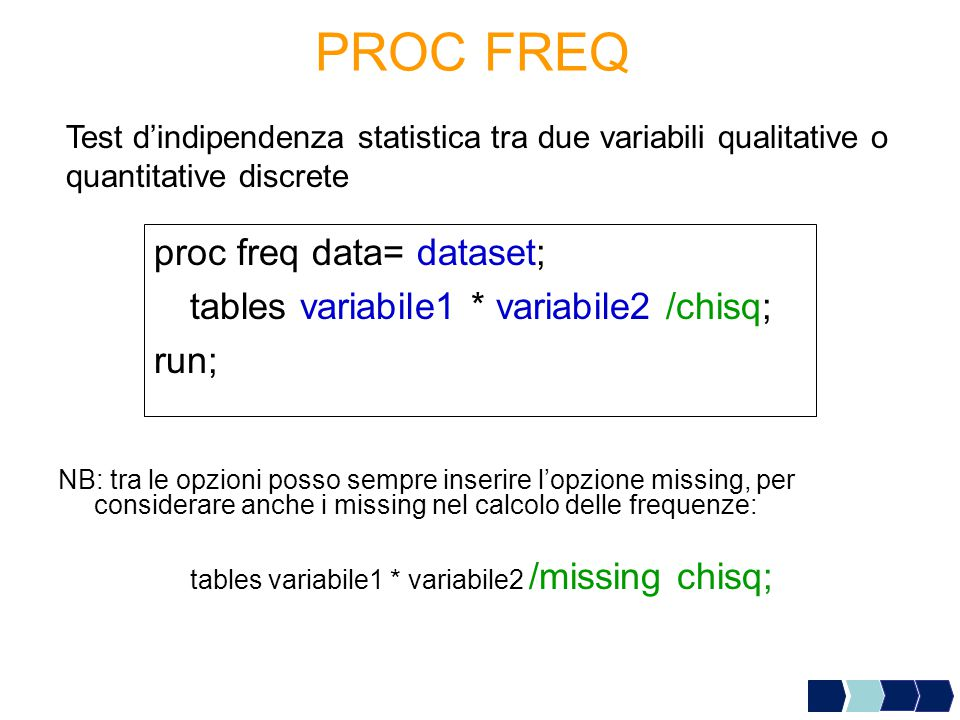 PROC FREQ proc freq data= dataset;