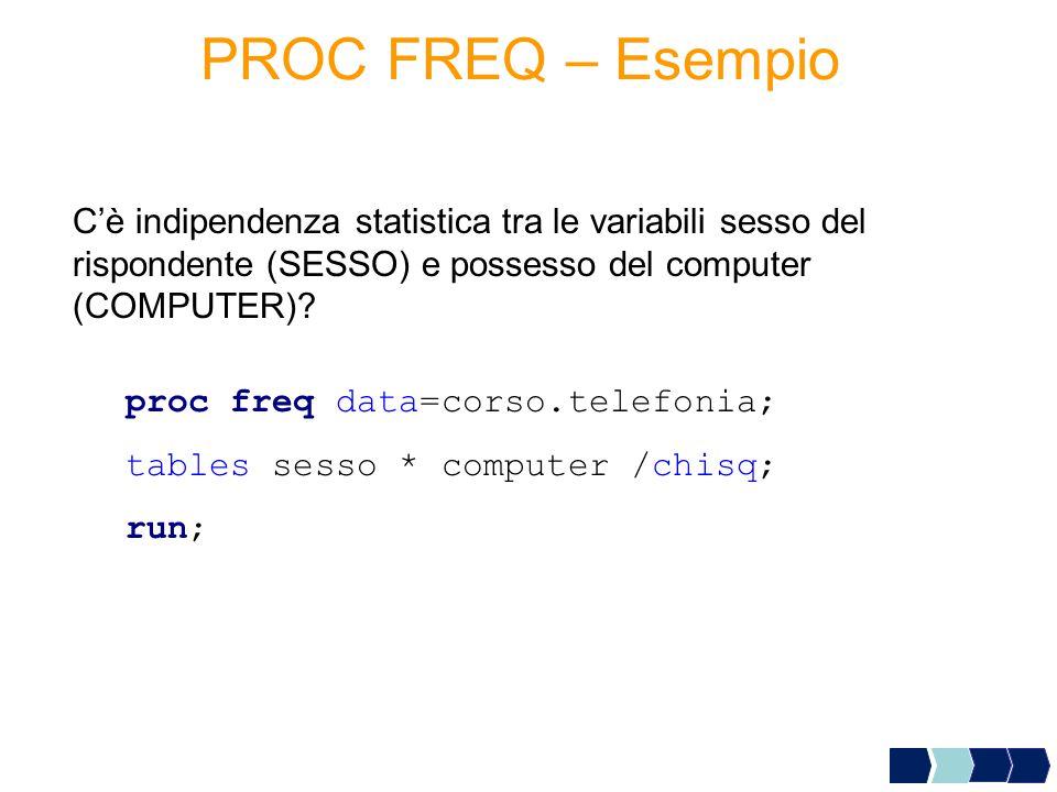 PROC FREQ – Esempio C'è indipendenza statistica tra le variabili sesso del rispondente (SESSO) e possesso del computer (COMPUTER)