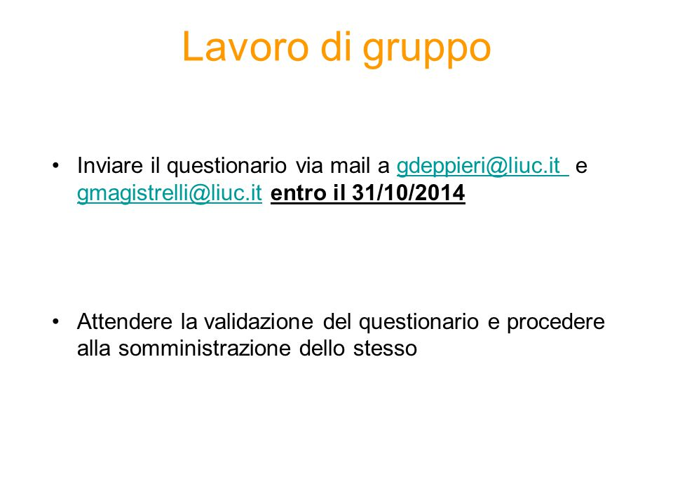 Lavoro di gruppo Inviare il questionario via mail a gdeppieri@liuc.it e gmagistrelli@liuc.it entro il 31/10/2014.