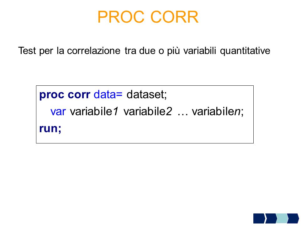 PROC CORR proc corr data= dataset;