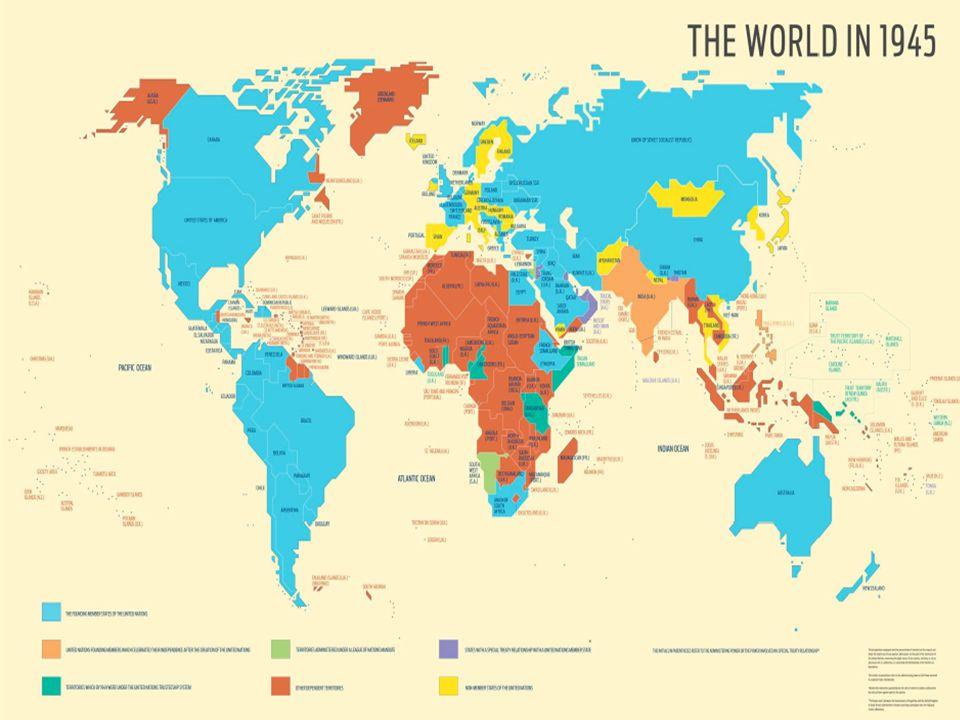 BLU: fondatori ONU; Arancio chiaro: fondatore ma diventa indipendente dopo; Verde acqua: territori in amministrazione fiduciaria; Verde pisello: territori sotto mandato SDN; Arancione: altri territori dipendenti; Giallo: non membri ONU