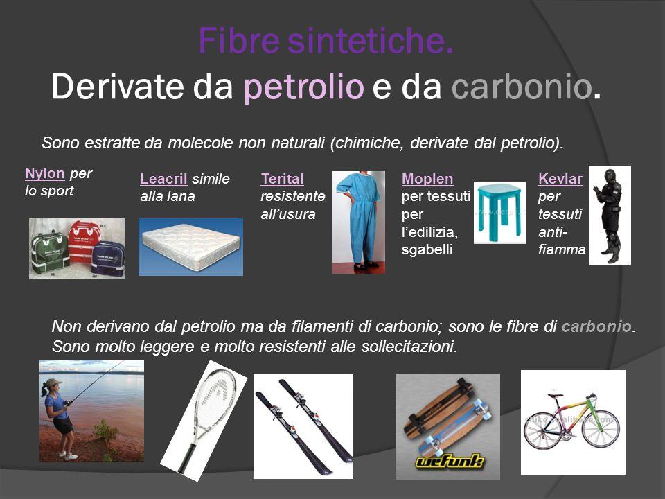 Fibre sintetiche. Derivate da petrolio e da carbonio.