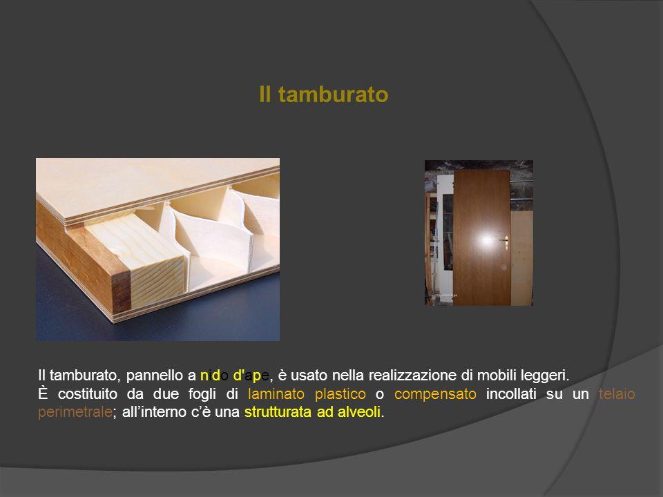 Il tamburato Il tamburato, pannello a nido d ape, è usato nella realizzazione di mobili leggeri.