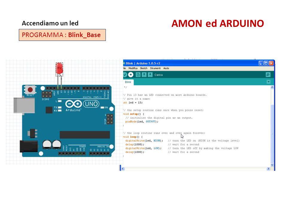 AMON ed ARDUINO Accendiamo un led PROGRAMMA : Blink_Base