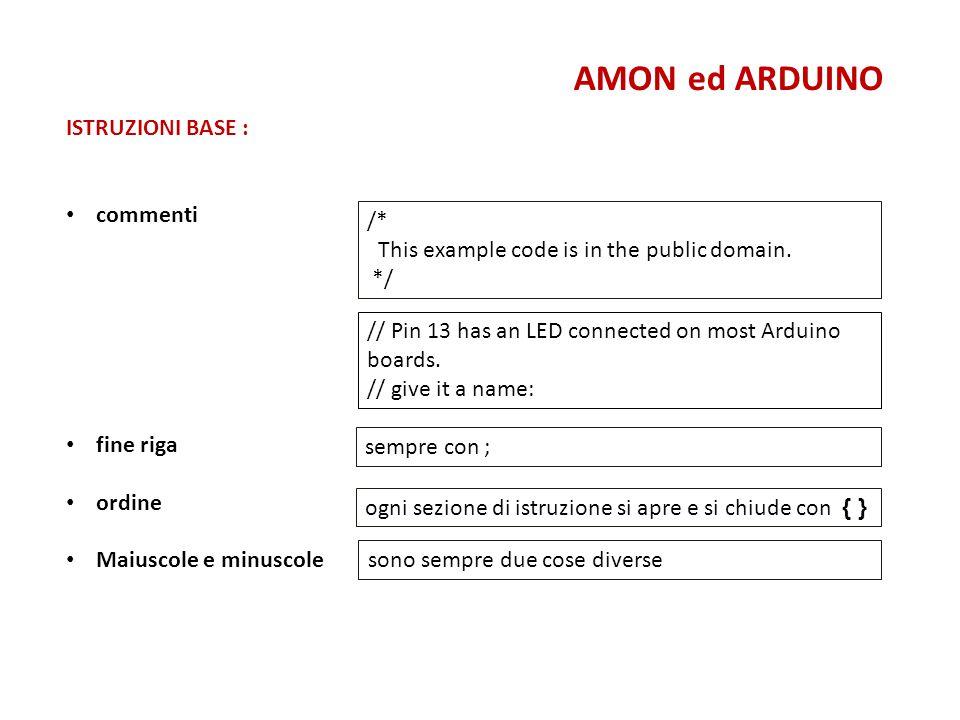 AMON ed ARDUINO ISTRUZIONI BASE : commenti /*