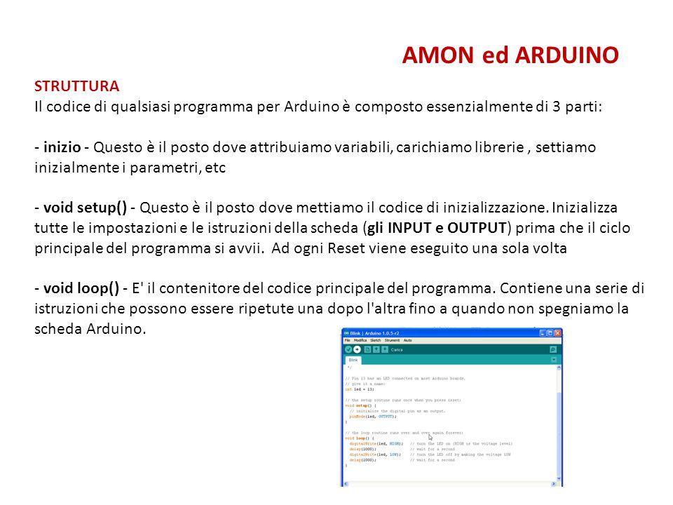 AMON ed ARDUINO STRUTTURA Il codice di qualsiasi programma per Arduino è composto essenzialmente di 3 parti: