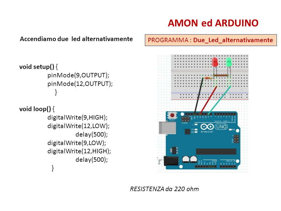 AMON ed ARDUINO Accendiamo due led alternativamente
