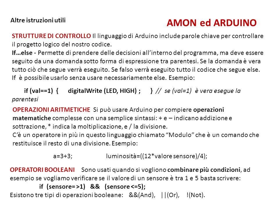 AMON ed ARDUINO Altre istruzioni utili