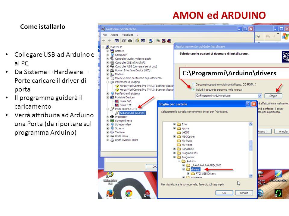AMON ed ARDUINO Come istallarlo Collegare USB ad Arduino e al PC
