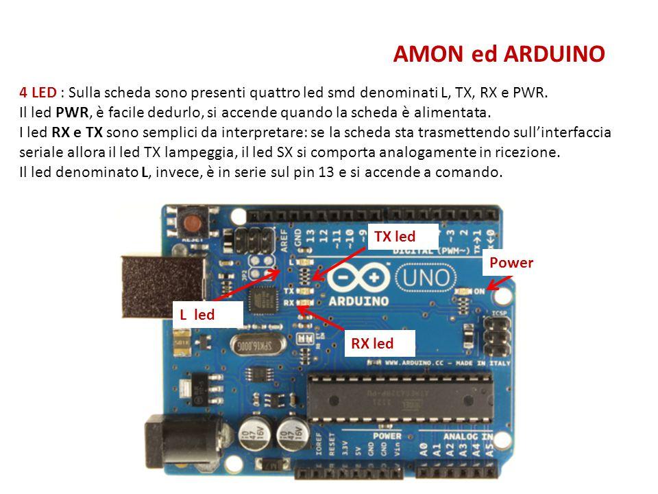 AMON ed ARDUINO 4 LED : Sulla scheda sono presenti quattro led smd denominati L, TX, RX e PWR.